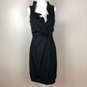 J. Crew Blakely Black Ruffle Neck Dress